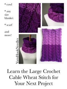 The Purple Fields Crochet Cable Cowl with FREE Pattern! - YarnHookNeedles