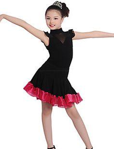 4155be98df3d Ballet Kjoler Børne Træning Bomuld   Pandekage   Linned Ruched 1 Stykke Kort  Ærme Naturlig Kjoler100