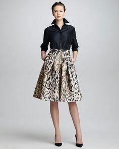 Animal-Print Jacquard A-Line Skirt & Classic Silk Taffeta Blouse by Carolina Herrera at Bergdorf Goodman. Mode Outfits, Skirt Outfits, Dress Skirt, Dress Up, Fashion Outfits, Womens Fashion, Carolina Herrera Dresses, Look Office, Work Fashion