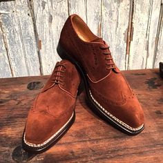 Repello suede wingtip by Rider Boot Co. Double leather sole, Norvegese construction. Now available @toboxshoes. (at ToBox)