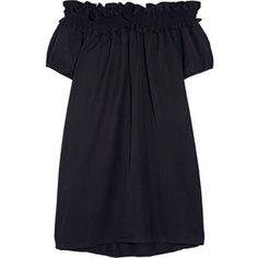 CLU CLU - Off-the-shoulder Brushed Silk And Cotton-blend Dress - Navy