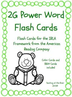 I've made NEW AND IMPROVED flashcards but I'm leaving the same great low price! These cards are for the 2G level of the IRLA framework from the American Reading Co. This comes with a green set of cards for easy color coding by level as well as a black and white set for a nice crisp dark print while saving color ink.