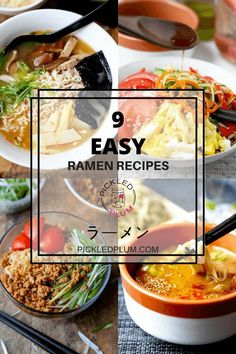 Easy Ramen Noodle Recipes 9 Easy Ramen Recipes - Learn how to make homemade ramen broth at home with these easy ramen recipes! Whether you like your ramen authentic or instant, chicken or vegetarian, these recipes will satisfy the ramen lover in you! Ramen Noodle Recipes, Ramen Noodles, Soup Recipes, Cooking Recipes, Noodle Soups, Drink Recipes, Cooking Eggs, Asian Noodles, Potluck Recipes