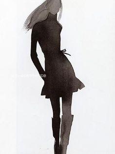illustration by Mats Gustafson Illustration Mode, Fashion Illustration Sketches, Fashion Sketchbook, Fashion Sketches, Fashion Drawings, Mats Gustafson, Silhouette Painting, Tinta China, Watercolor Fashion