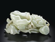 A LARGE CELADON JADE 'LOTUS FLOWER' WASHER QING DYNASTY, QIANLONG PERIOD - Sotheby's
