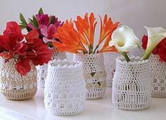 Crochet can embellish simple jam jars...delicious.