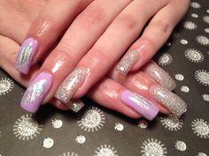Gel nails, purple, foils, glitter