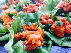 Buffalo chicken lettuce wraps: Grilled chicken cooked and tossed with spicy buffalo sauce and topped with a little mozzarella cheese. Wrapped  in butter lettuce and topped with a little cilantro 😋 #chicken #dinner #lunch #healthy #protein #food #eatclean #cleaneating #fitfam #fitnessfreak #fitspiration #fitnessaddict #yoga #yoglife #spicy #love #foodporn #fitspiration #yogacocktailfitness
