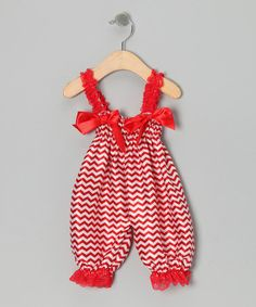 Take a look at this Red Zigzag Playsuit - Infant by Royal Baby by Royal Gem Clothing on #zulily today!