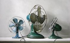 'Three Vintage Fans' photorealistic painting by Christopher Stott