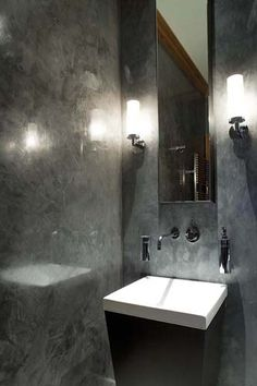 Polished plaster powder room