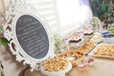 Cute baby shower ideas (or any party food table menu)