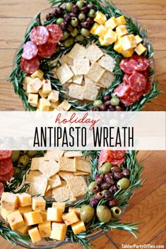 This healthy, easy antipasto wreath is great as a simple Christmas appetizer and will add festive flair to all of your holiday parties! Salami, cheeses, olives, and crackers lay on a pretty rosemary wreath. Holiday Party Appetizers, Holiday Parties, Party Snacks, Healthy Appetizers, Appetizer Recipes, Appetizer Ideas, Simple Appetizers, Snack Recipes, Party Recipes