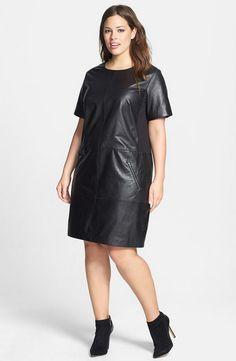 "<h3><em><a href=""http://thecurvy.me/1x70tT9"" target=""_blank"">Halogen</a> </em>Leather and Ponte Knit Dress</h3>"