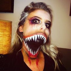Repulsive Big Open Mouth with Sharp Jagged Teeth Halloween Makeup