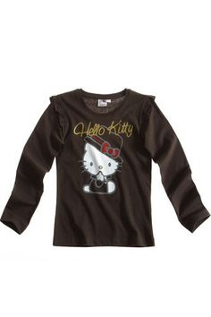 $11.50 GIRL'S KIDS HELLO KITTY OFFICIAL LONGSLEEVE T-SHIRT Sz:Age 8-14 BLACK | eBay