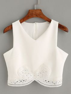 Summer Romantic White Lace Trim Crop Tank Top