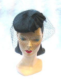 1940's Vintage Black Tilt Hat w Bird Cage Veil New York Creation via Etsy.
