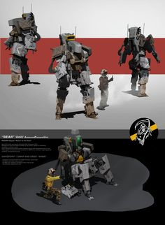 Quick design idea for an old unit i did. Thanks for looking Bear APU Robot Concept Art, Armor Concept, Game Concept, Game Character Design, Character Concept, Cyberpunk, Powered Exoskeleton, Cuadros Star Wars, Robots Characters