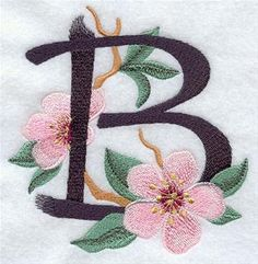 Letter B ♥ Embroidery Modeled after Japanese brushstroke calligraphy