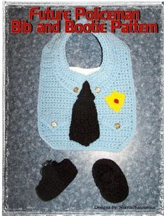 Future Police Officer Bib and Bootie Set Crochet Pattern PDF | Etsy Lace Booties, Wearable Blanket, Novelty Items, Lace Dress Black, Police Officer, Baby Wearing, One Size Fits All, Pattern Design, Crochet Patterns