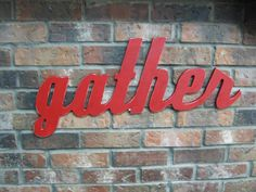 Red Gather Sign Wood Wall Decor Family Room by DimeStoreVintage