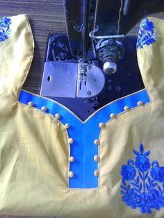 30 Stylish Potli button neck designs for kurtis and salwar suits Chudithar Neck Designs, Chudidhar Designs, Neck Designs For Suits, Blouse Back Neck Designs, Neckline Designs, Blouse Designs, Sleeve Designs, Salwar Neck Patterns, Neck Patterns For Kurtis
