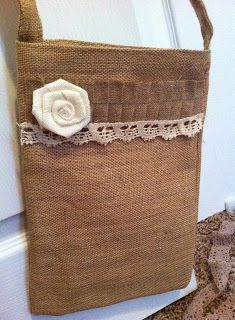 attempt at embellishing burlap bag!