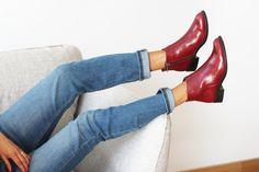 a1686b369b5d JULES   JENN - Les bottines plates cuir bordeaux  fashion  mode  women