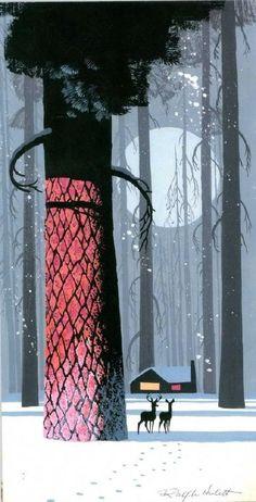 森林、雪、溪流与偶然闯入的鹿,美国画家Ralph Hulett所描绘的戛然而止