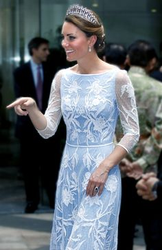 Stunning. She is wearing Queen Mary's Lover's Knot tiara.