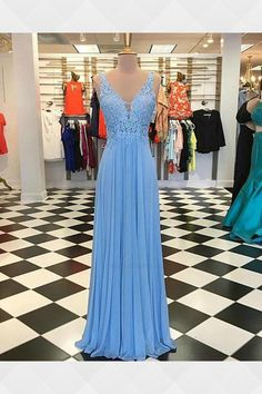 Lace Prom Dresses, Prom Dresses 2019, Party Dresses Blue, Prom Dresses V-neck, V-Neck Prom Dresses, 2018 Prom Dresses #2018PromDresses #PromDresses2019 #LacePromDresses #VNeckPromDresses #PromDressesVneck #PartyDressesBlue