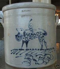 Antique Stoneware Crock S. Hart Fulton Dog and Bird (03/26/2008)
