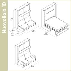 The Nuovoliola 10 is a queen size wall bed with an integrated three-seat sofa and storage under the sofa seat. Additional modular cabinets and shelving available. Cama Murphy, Murphy Bed, Day Bed Frame, Modular Cabinets, Resource Furniture, Space Saving Beds, Convertible Furniture, Folding Walls, Small Sofa