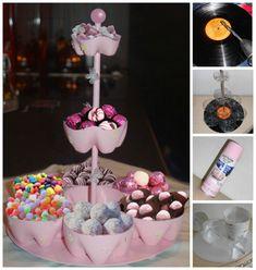 Torre para dulces en botellas de pet