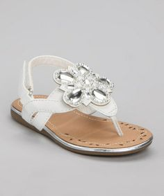 Love this Josmo White Large Jewel Flower Sandal by Josmo on #zulily! #zulilyfinds