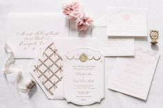 Pink, White and Gold Letterpress Wedding Invitations  See more here: http://theaerialistpress.com/content/select-house-design