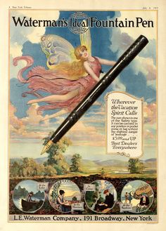 The Waterman Fountain Pen promotion via this beautiful poster!