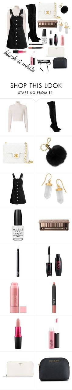 """black and white oufits"" by annisyaar on Polyvore featuring A.L.C., Kendall + Kylie, Chanel, MICHAEL Michael Kors, BillyTheTree, OPI, Urban Decay, NARS Cosmetics, MAC Cosmetics and Prada"