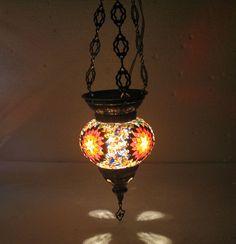 Moroccan lantern Hanging light Turkish lamp Night Shade Mosaic Glass lamp t 09 #Handmade #Moroccan