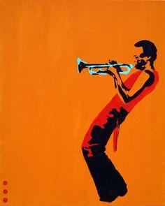 Pop art miles on orange Painting @}-,-;--