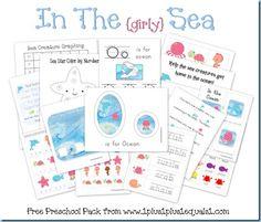 In The Sea Printable Preschool Pack- Girly version.  : )