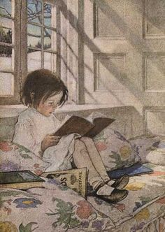 Jessie Wilcox Smith Illustration: A Girl Reading, from 'A Child's Garden of Verses' by Robert Louis Stevenson, Published 1885 Art And Illustration, Book Illustrations, Reading Art, Girl Reading, Reading Quotes, Close Reading, Reading Nooks, Reading Skills, Jessie Willcox Smith