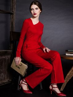 Red Asymmetric Neck High Waist Straight Jumpsuit