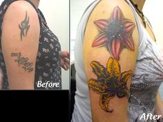Cover Up Tattoo: Lilies on arm