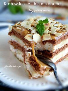 Krówka z bananami - bez pieczenia/Little Cow with a bananas - no bake Polish Desserts, Polish Recipes, Cookie Desserts, No Bake Desserts, Delicious Desserts, Yummy Food, Sweet Recipes, Cake Recipes, Dessert Decoration