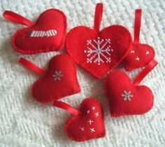 Free shipping6 heart christmas ornamentsred felt by fraline