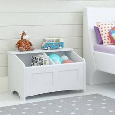 Don't fight with all the clutter of a child's room, simply store it all in the Room & Joy Cleo Toy Chest. This Toy Chest is great for storing stuffed animals, toys and books and includes curved corners for your child's safety. Keep everything organized in the 2 open compartments and display their favorite toys on the top ledge of the Toy Chest for easy access. Arched details and a decorative inset front makes this Toy Chest aesthetically pleasing to the eye as well. The fresh ...