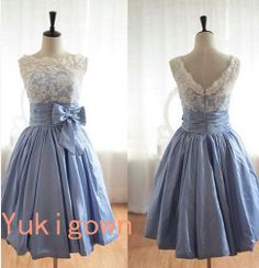 Beige & blue v back taffeta lace kneelength bridesmaid by Yukigown, $168.00
