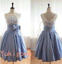 Beige & blue v back taffeta lace kneelength bridesmaid by Yukigown, $168.00